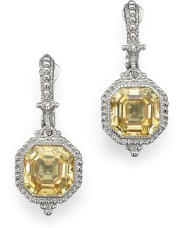 Estate Ascher Cut Stone Earrings With Canary Crystal