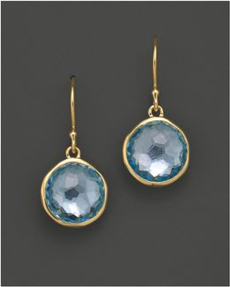 18k Gold Lollipop Earrings In Blue Topaz