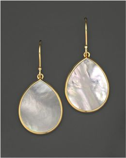18k Gold Polished Rock Candy Teardrop Earrings In Mother-of-pearl