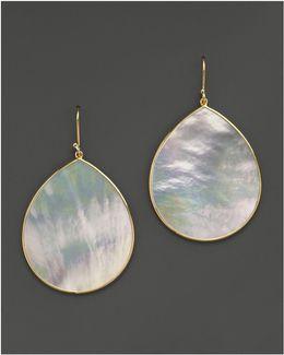 18k Gold Polished Rock Candy Jumbo Teardrop Earrings In Mother-of-pearl