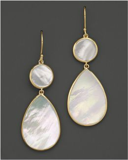 18k Gold Polished Rock Candy 2 Drop Earrings In Mother-of-pearl