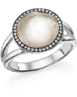 Sterling Silver Stella Ring In Mother-of-pearl With Diamonds
