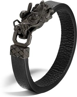 Men's Naga Silver Dragon Head Bracelet With Black Finish On Black Leather Strap