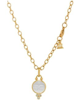18k Yellow Gold Moonface Pendant With Carved Rock Crystal And Diamond Granulation