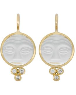 18k Yellow Gold Moonface Earrings With Rock Crystal And Diamond Granulation