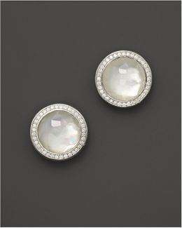 Sterling Silver Stella Studs In Mother-of-pearl Doublet With Diamonds