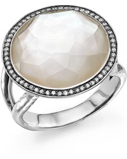Sterling Silver Stella Lollipop Ring In Mother-of-pearl Doublet With Diamonds