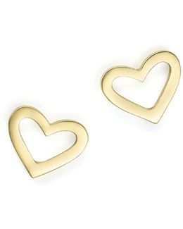 18k Yellow Gold Heart Earrings