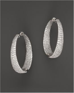18k White Gold Large Scalare Diamond Earrings