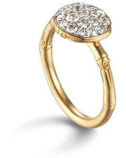 Bamboo 18k Gold And Diamond Pavé Small Round Ring