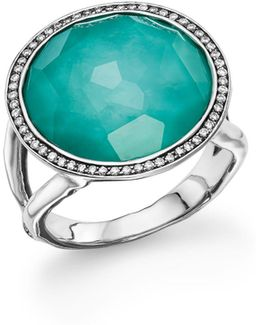 Sterling Silver Stella Lollipop Ring In Turquoise Doublet With Diamonds