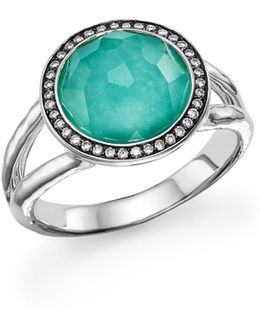 Sterling Silver Stella Mini Lollipop Ring In Turquoise Doublet With Diamonds