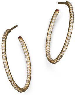 18k Yellow Gold Micropave Inside-out Diamond Hoop Earrings