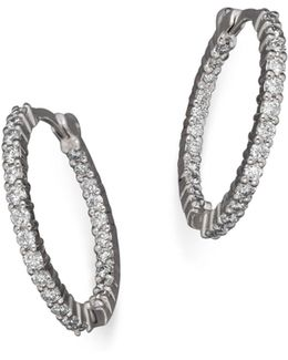 18k White Gold Diamond Inside-out Hoop Earrings