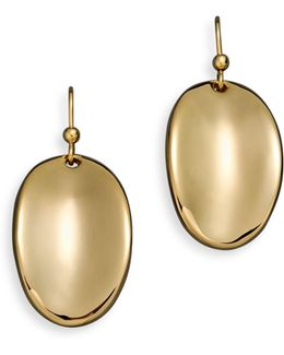 18k Yellow Gold Oval Drop Earrings