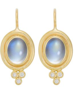 18k Yellow Gold Classic Oval Earrings With Cabochon Royal Blue Moonstone And Diamond Granulation
