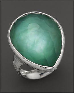 Sterling Silver Large Teardrop Ring In Mint
