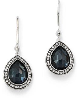 Stella Teardrop Earrings In Hematite Doublet With Diamonds In Sterling Silver
