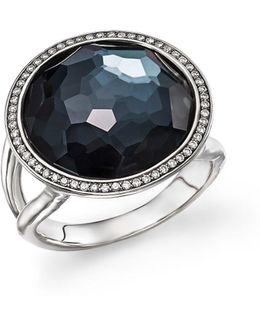 Stella Lollipop Ring In Hematite Doublet With Diamonds In Sterling Silver