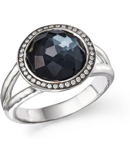 Stella Ring In Hematite Doublet With Diamonds In Sterling Silver