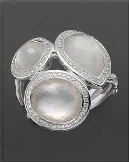 Sterling Silver Stella Ring In Mother-of-pearl Doublet With Diamonds