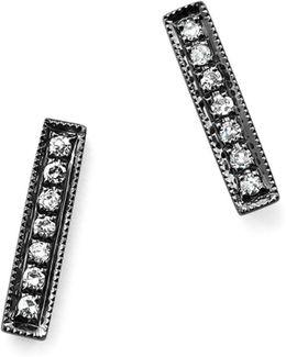Diamond Sylvie Rose Earrings In 14k Black Rhodium