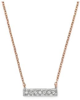 14k White & Rose Gold Sylvie Rose Mini Bar Necklace With Diamonds