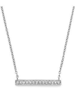 14k White Gold Sylvie Rose Medium Bar Necklace With Diamonds