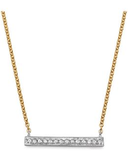 14k White & Yellow Gold Sylvie Rose Medium Bar Necklace With Diamonds