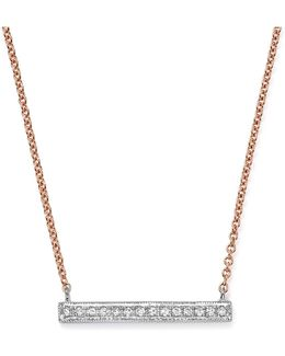 14k White & Rose Gold Sylvie Rose Medium Bar Necklace With Diamonds