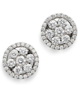 18k White Gold Diamond Round Cluster Earrings