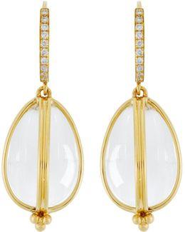 18k Yellow Gold Classic Amulet Diamond Pavé Earrings