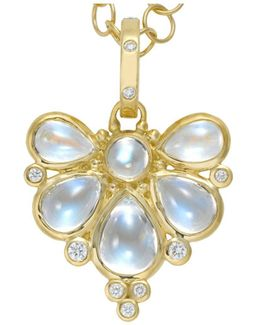 18k Yellow Gold Wing Pendant With Royal Blue Moonstone And Diamonds