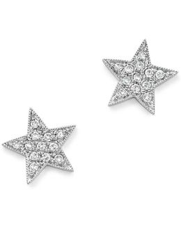 Diamond Julianne Himiko Star Earrings In 14k White Gold