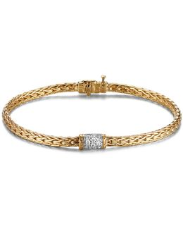 Classic Chain 18k Gold Mini Bracelet With Diamond Pavé