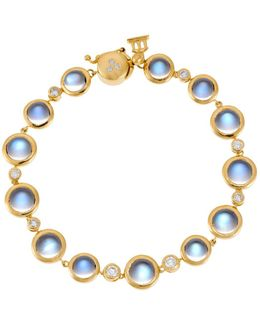 18k Yellow Gold Single Round Bracelet With Royal Blue Moonstone And Diamond