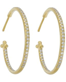 Pave Hoop Earrings In 18k Yellow Gold, 1.57 Ct. T.w.