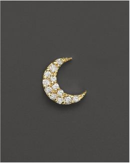 14k Yellow Gold Single Stud Moon Earring