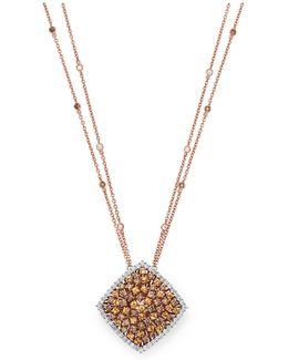 White Diamond And Orange Garnet Square Pendant Necklace