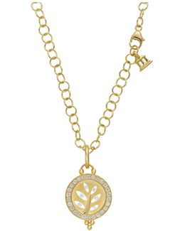 18k Yellow Gold Pavé Halo Tree Cutout Pendant With Diamonds
