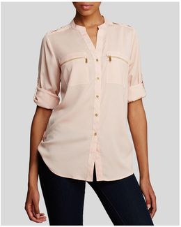 Zip Pocket Roll Sleeve Shirt