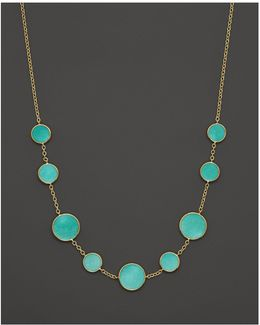 18k Gold Polished Rock Candy Turquoise Circle Station Necklace, 16-18""