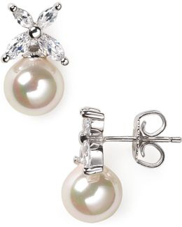 Flower And Simulated Pearl Stud Earrings