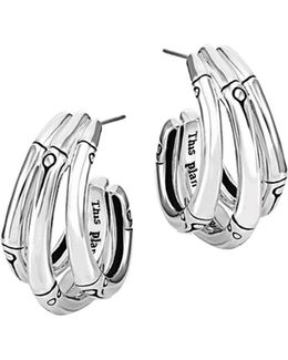 Bamboo Silver Small J Hoop Earrings