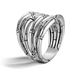 Bamboo Silver Wide Ring