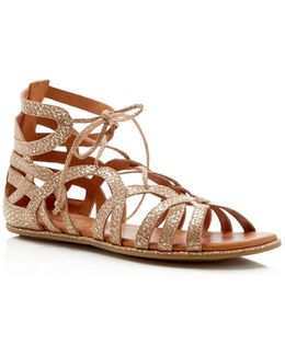 Break My Heart Metallic Snake Embossed Lace Up Sandals