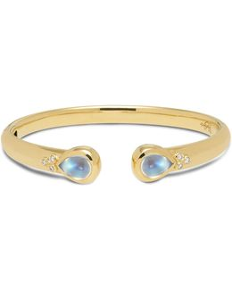 18k Yellow Gold Classic Hinge Bracelet With Royal Blue Moonstone And Diamonds
