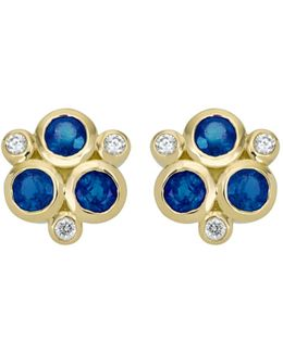 18k Yellow Gold Classic Triple Stone Earrings With Blue Sapphires And Diamonds