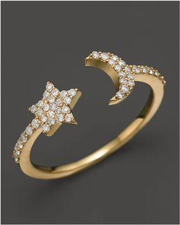 14k Yellow Gold Moon & Star Ring With Diamonds