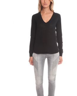 Atm Long Sleeve V Neck Cashmere Sweater